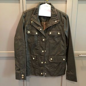 JCrew Olive Green Field Jacket Gold Hardware NWOT